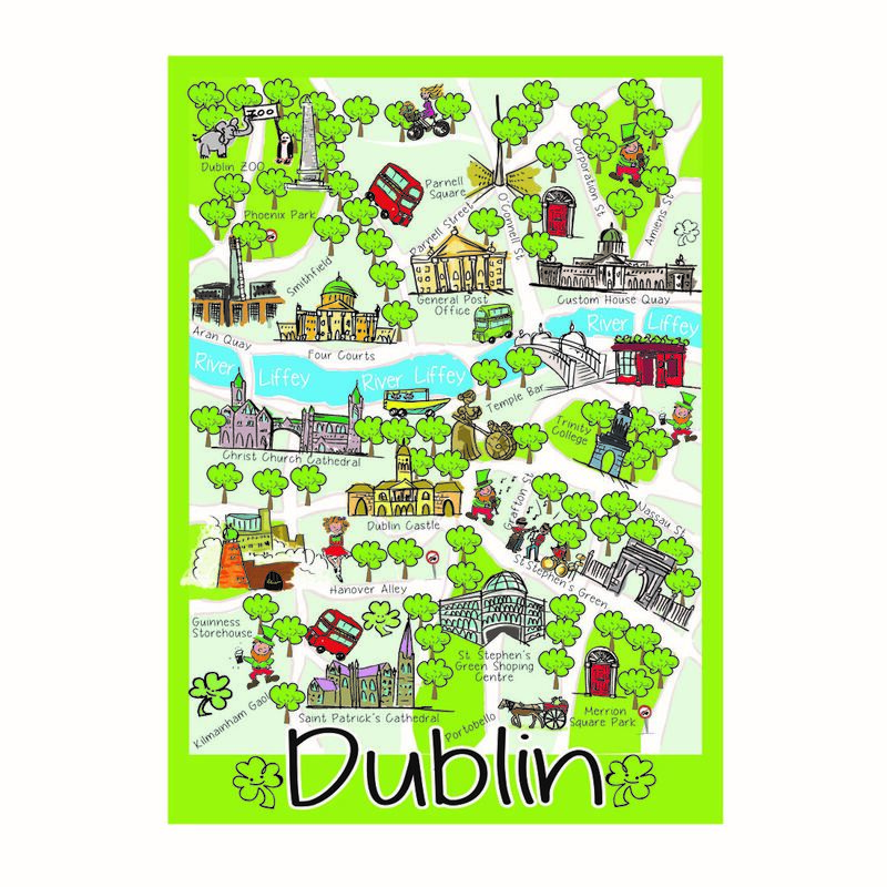 Iconic Map Of Dublin Single T-Towel