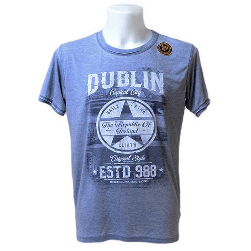 Blue Dublin Capital City T-Shirt With Star Design and EST 988 Text