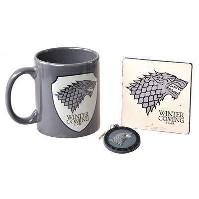 Games Of Thrones Stark Winter Is Coming Mug  Coaster and Keychain Gift Set