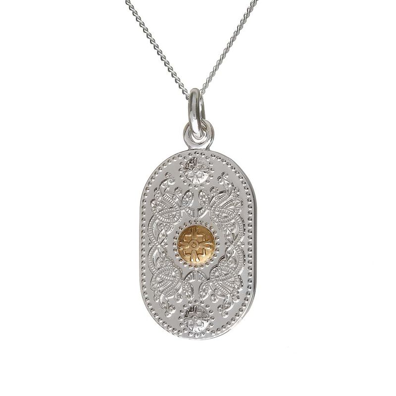House Of Lor Oval Pendant With 10 Carat Rare Irish Gold Boss