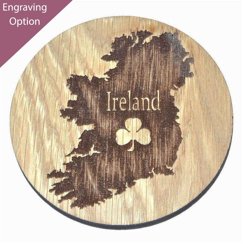 Irish Wooden Designed Coaster With Map Of Ireland And Shamrock Design