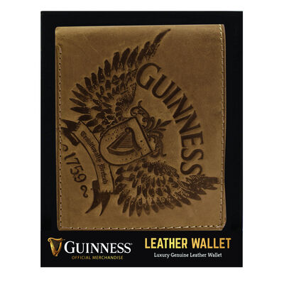 Guinness Brown Leather Wallet With Wings Print