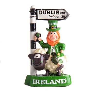 "3.5"" Figurine of a Leprechaun on a Sheeps Back with a Dublin Road Sign"