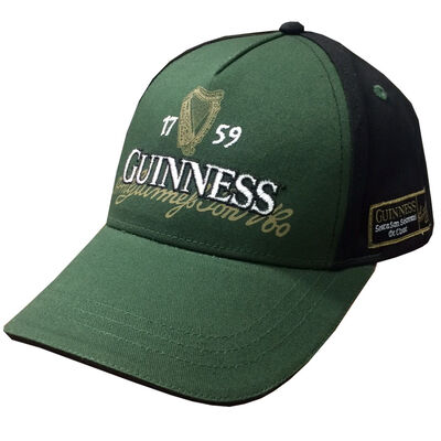 Guinness St James' Gate Baseball Cap With Logo Design Black And Green Colour