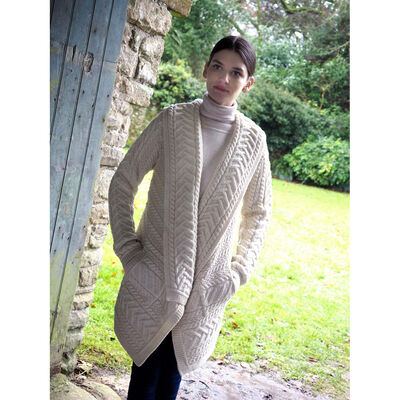 Ladies Knitted Waterfall Cardigan Natural Colour