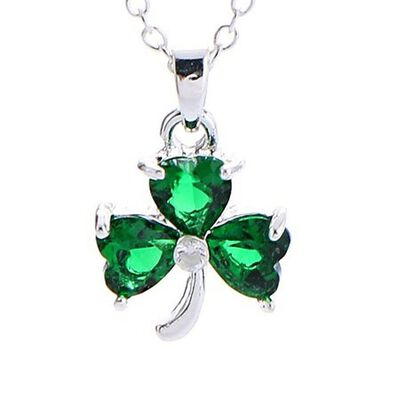 Lovely Irish Green Crystal Pendant With Traditional Shamrock Design