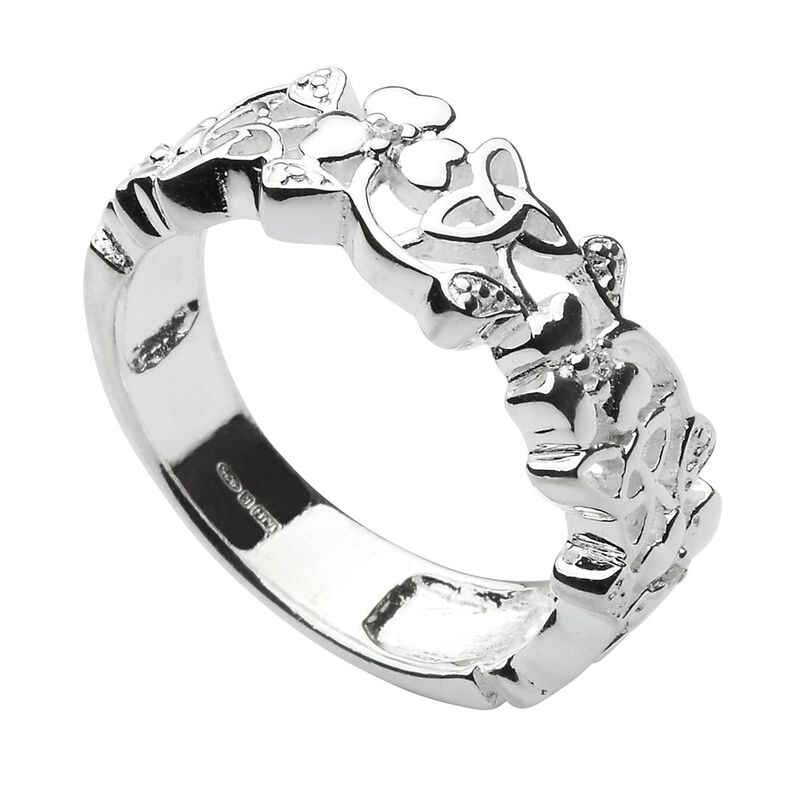 Hallmarked Sterling Silver Ring With Trinity Knots And Shamrocks
