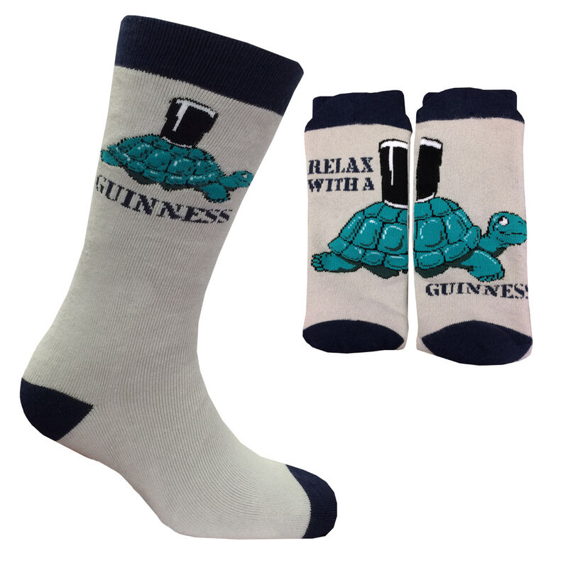 Tortoise Pint Designed Guinness Novelty Socks  Grey And Navy Colour