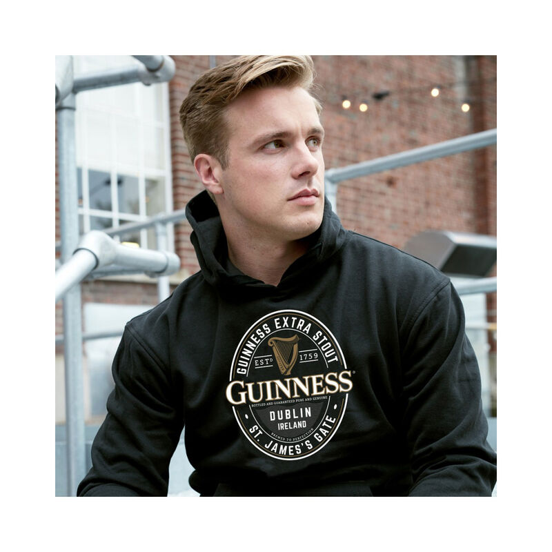 Guinness Pullover Hoodie With Large Brewed In Dublin Label  Black Colour