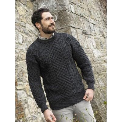 West End Knitwear Men's Aran Sweater Charcoal Colour 100% Merino Wool