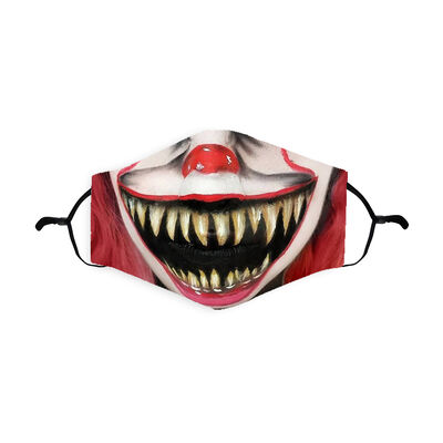 Re-Usable Halloween Face Covering Scary Clown Design With Adjustable Ear Loops & Filter