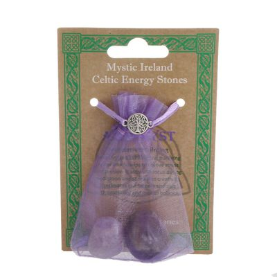 Mystic Ireland Celtic Energy Stones – Amethyst Bagged Stones