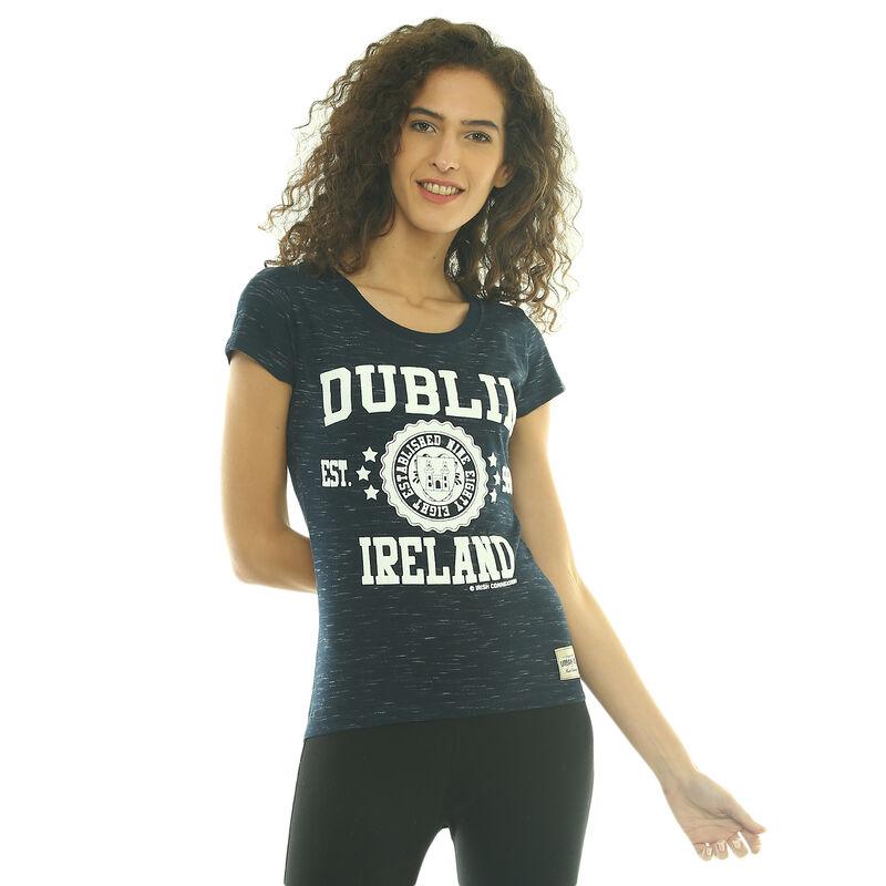 Ladies T-Shirt With Dublin Ireland EST 988 and Dublin Crest  Navy Colour