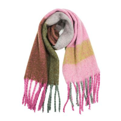Heritage Traditions Mohair Look Wrap Blanket Scarf  Pink And Green Colour