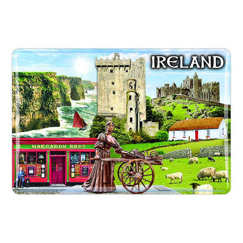 Ireland Epoxy Magnet Montage Of Irish Landmarks  Molly Malone  Castle
