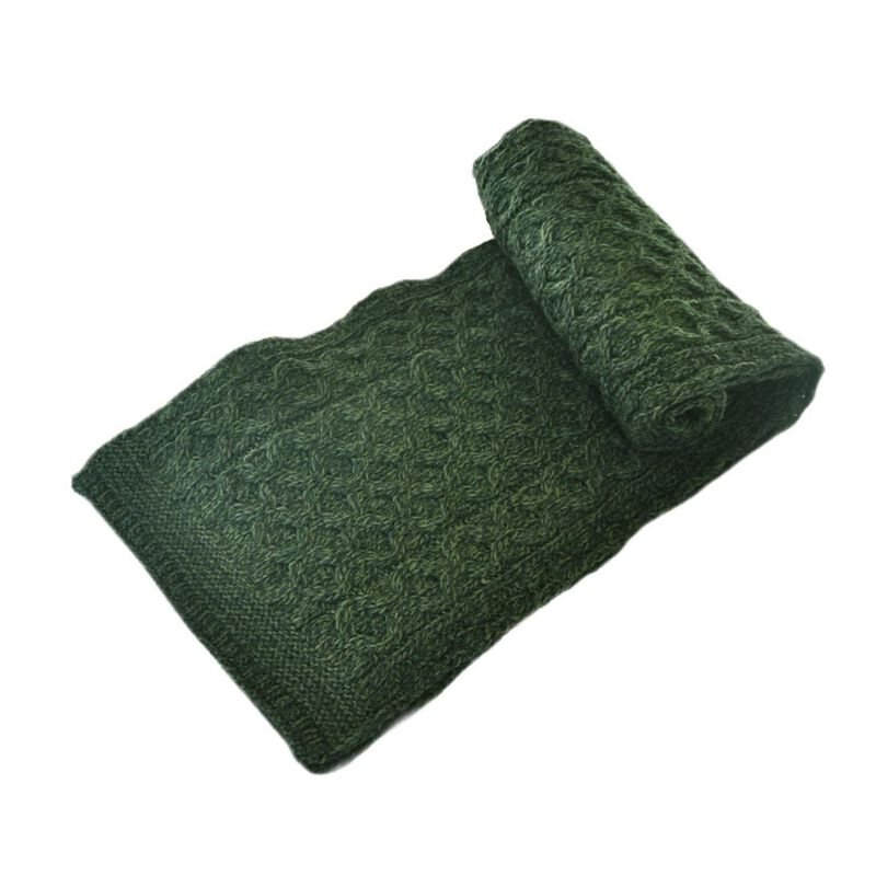 100% Merino Wool Aran Crafts Honeycomb Scarf Army Green 64