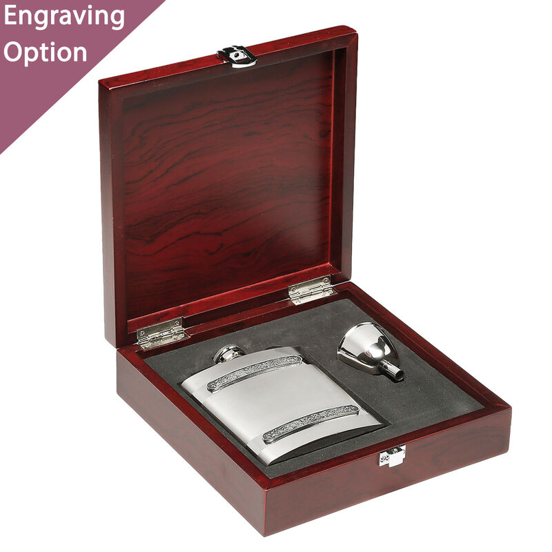 Whiskey Lover's Gift Set With Celtic Design Hip-Flask And Funnell