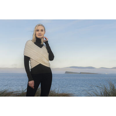 100% Merino Wool Aran Cable Crossover Wrap, Natural Colour