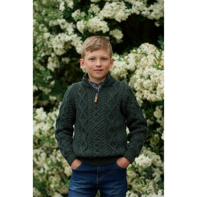 Kids 100% Merino Wool Sweater With Quarter Length Zip  Army Green Colour