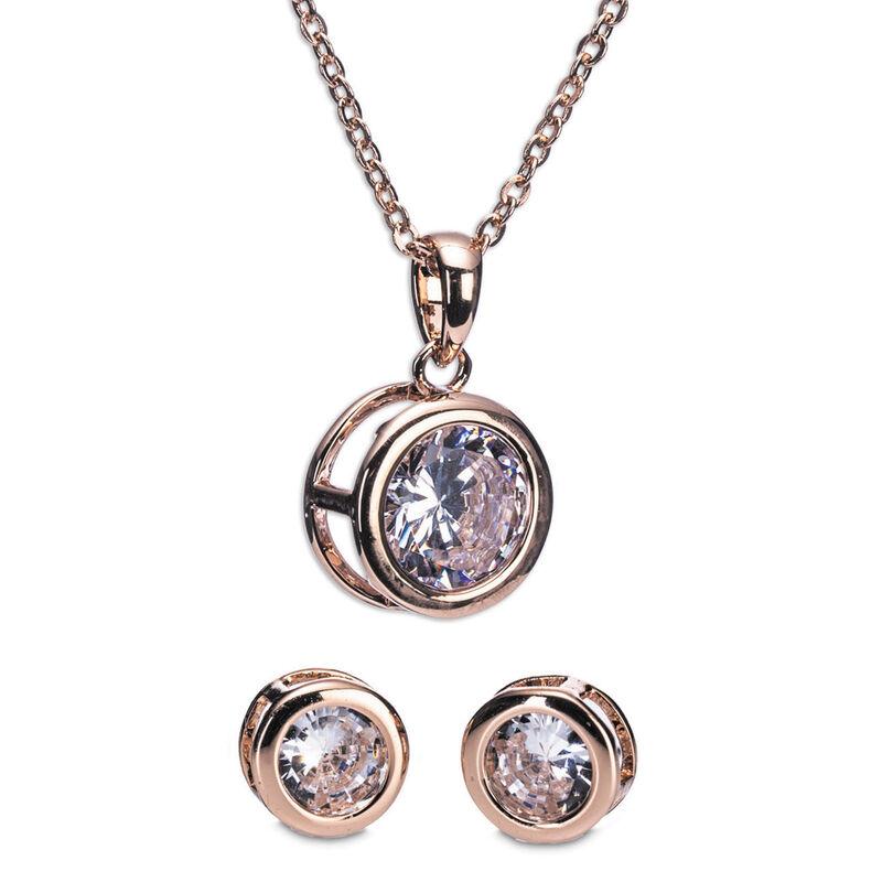 Newgrange Living Rose Gold White Stone Necklace And Earring Set