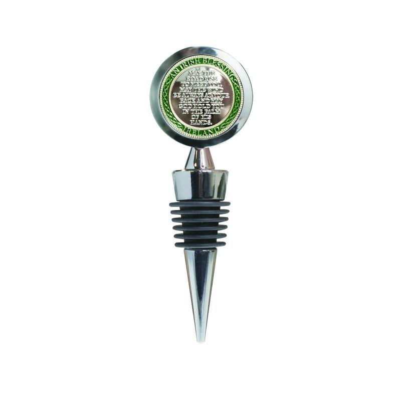 Stainless Steel Wine Stopper With Irish Blessing and Celtic Knot Design
