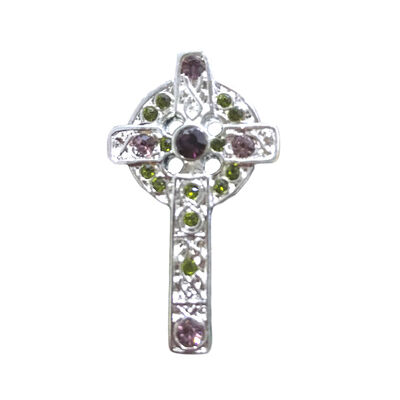 Silver Plated Celtic Cross Brooch With Coloured Cubic Zirconia