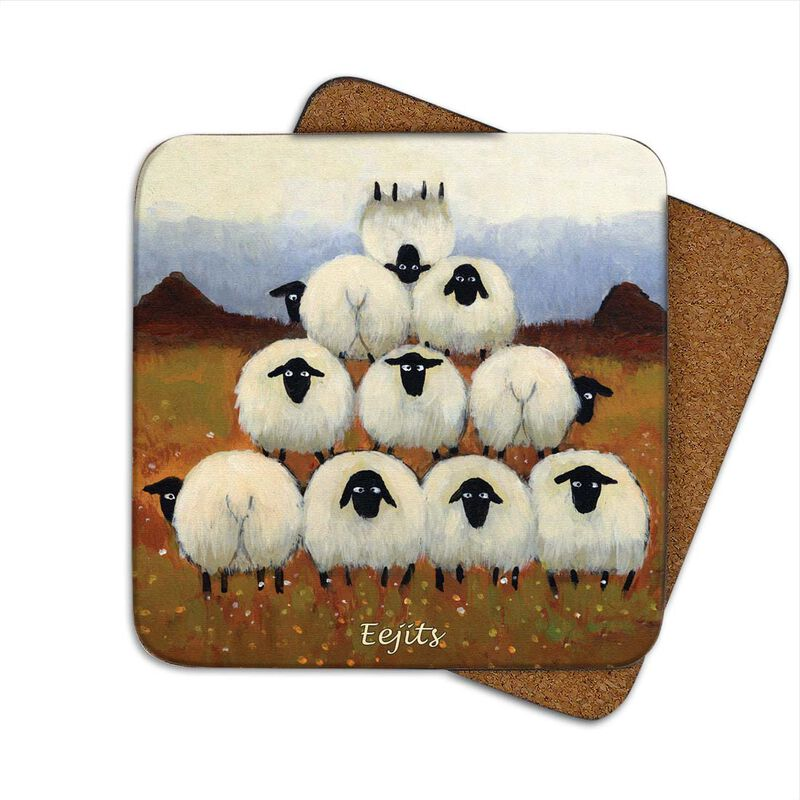 Irish Coaster With Sheep In A Pyramid Shape With The Text 'Eejits