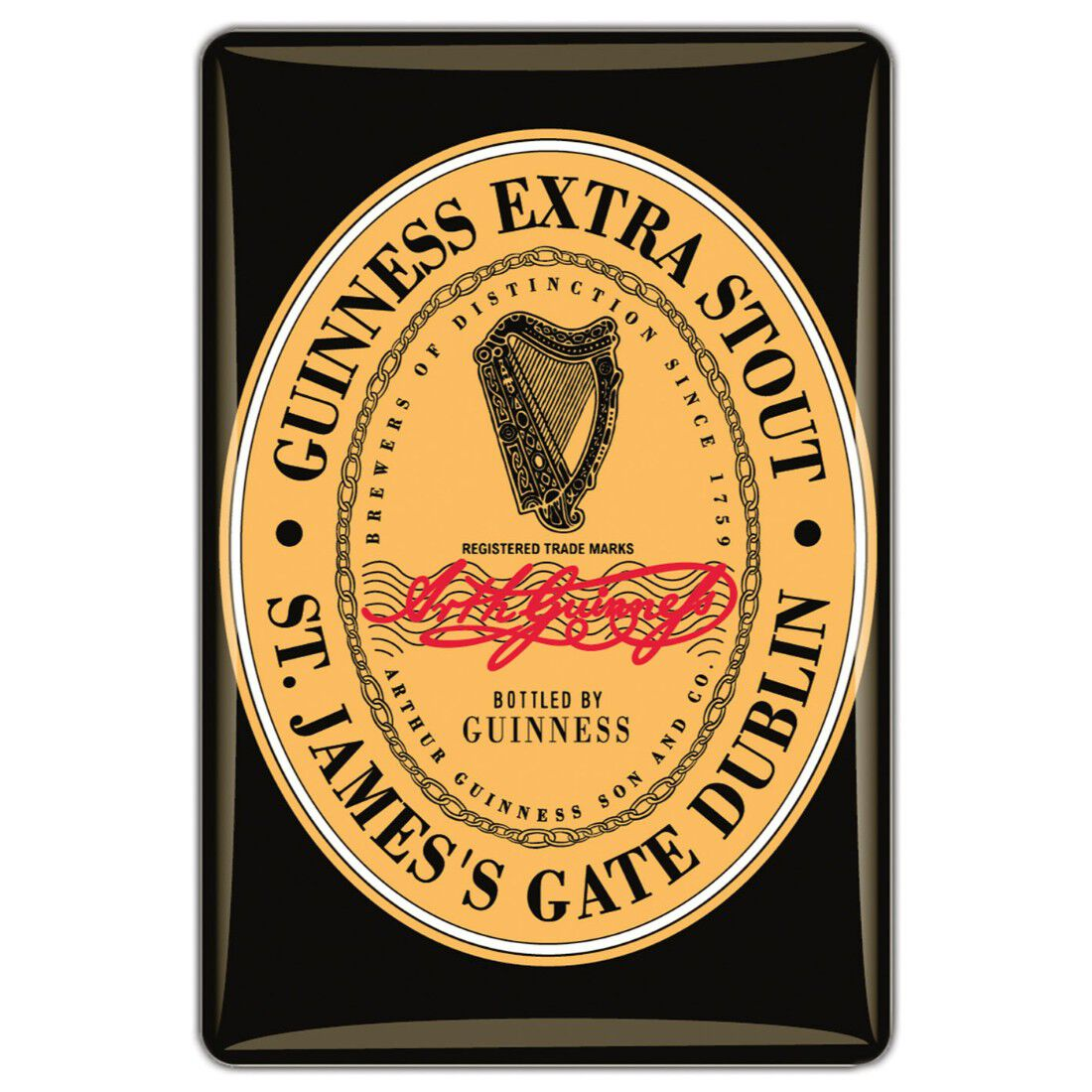 Guinness Official Merchandise Quality Epoxy Magnet With Guinness Label Design