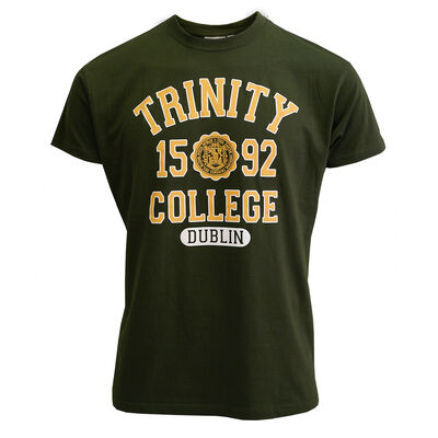 Trinity College Dublin Varsity Tee – Bottle Green With Yellow Print