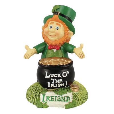 McMurfy Luck O' The Irish Leprechaun Figurine With Pot Of Gold Design