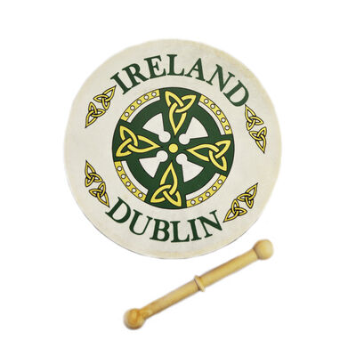 8 Bodhran mit Dublin Keltischem Kreuz Design