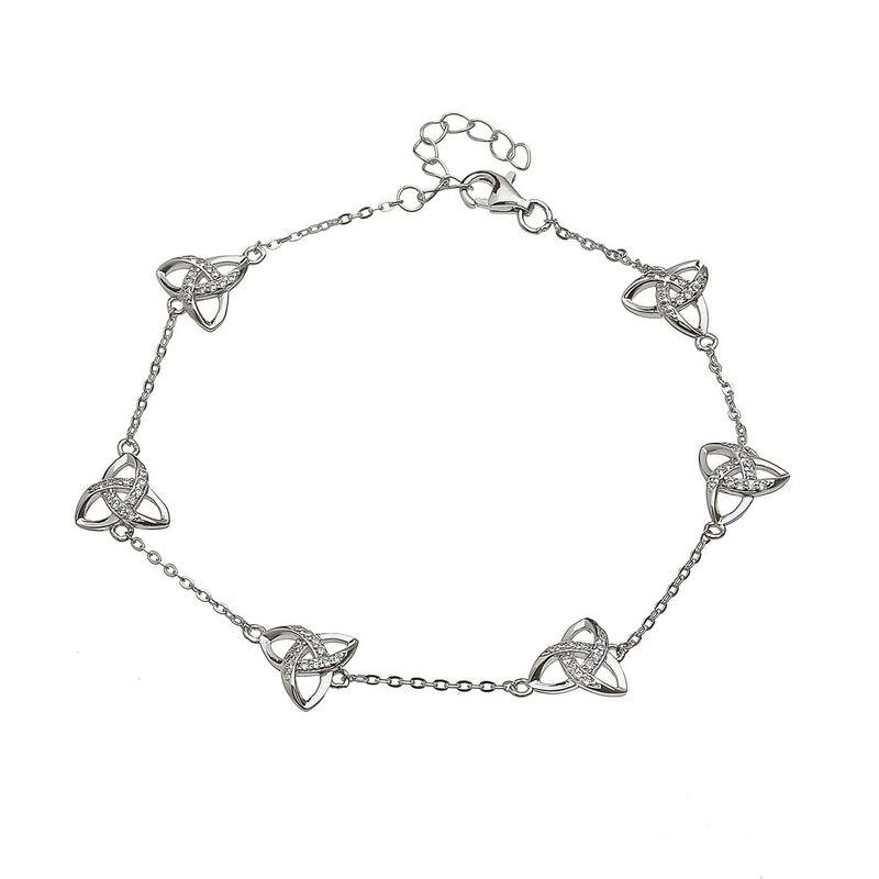 Hallmarked Sterling Silver Cubic Zirconia Trinity Knot Chain Bracelet