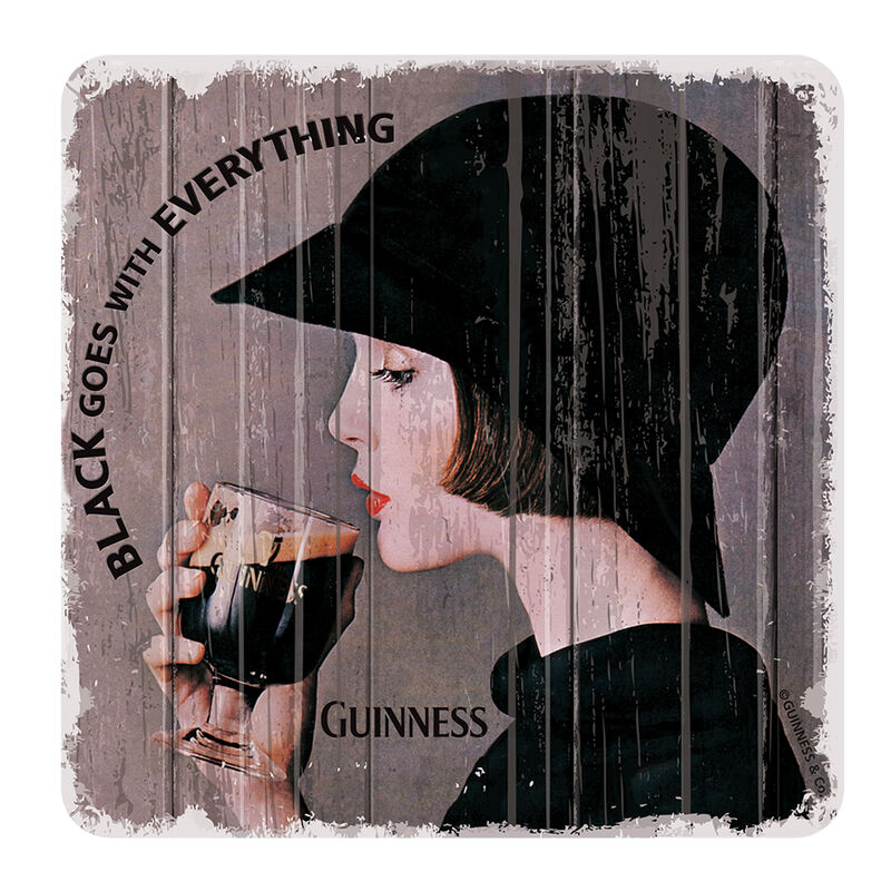 Nostalgic Guinness Coaster with Guinness Drinking Lady Design