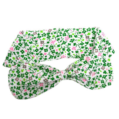 Irish Girl White Baby Headband With Green And Pink Flower Design