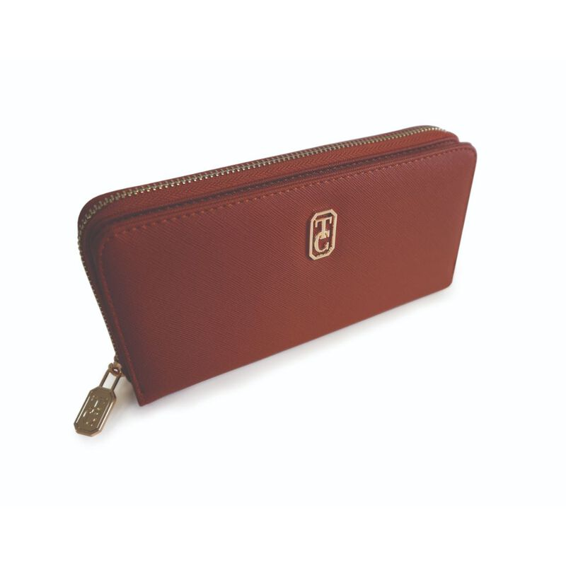 Tipperary Crystal Large Brown Ladies Zipped Wallet With Gold Hardware