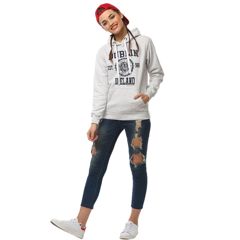 Pullover Hoodie With Dublin Ireland Varsity-Style Print