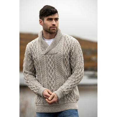 Herringbone Shawl Hooded Merino Wool Sweater, Oatmeal Colour