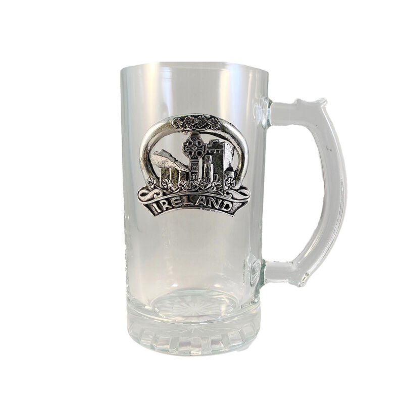 15oz Glass Tankard With Embossed Pewter Emblem Ireland Design