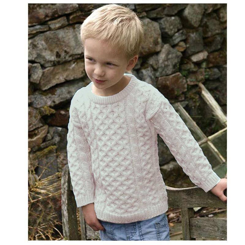 Traditional Aran Crew Neck Sweater, Natural Colour