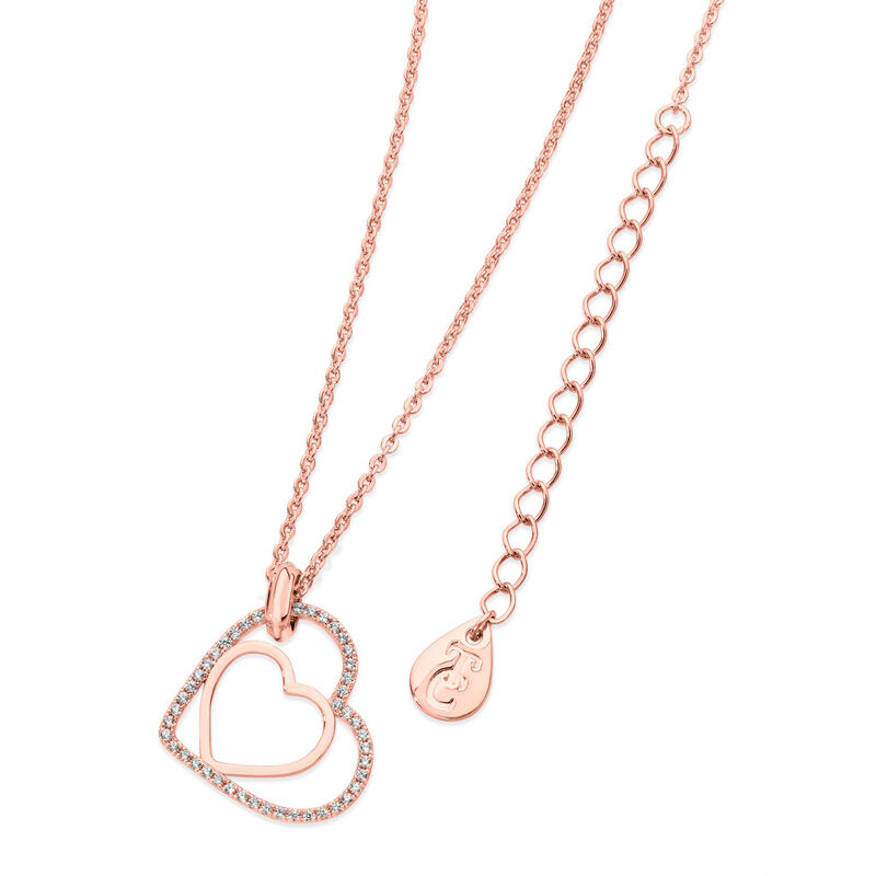 Tipperary Crystal Floating Heart Rose Gold Plated Pendant