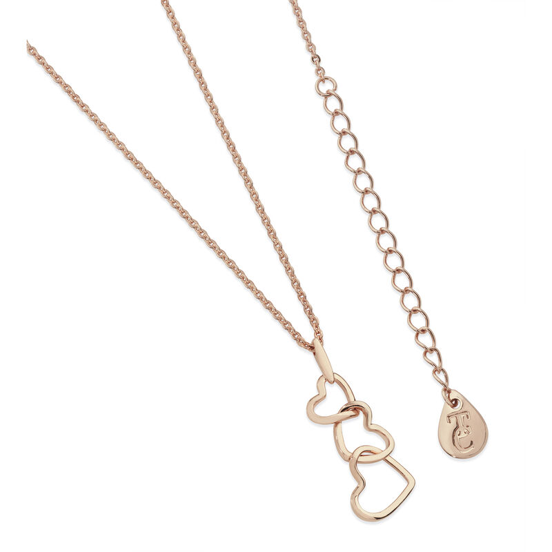 Tipperary Crystal Rose Gold Triple Heart Drop Pendant