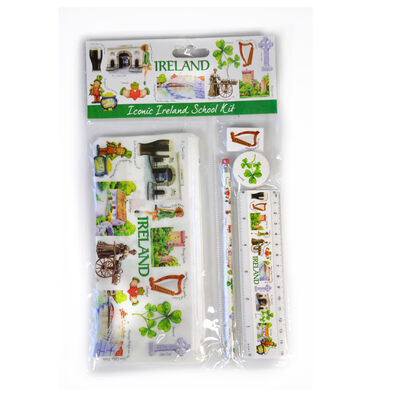 Icons Of Ireland School Kit; Pencil Case  Pencil  Eraser  Sharpener and Ruler