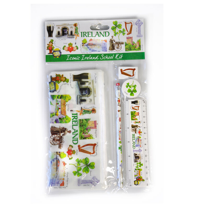 Icons Of Ireland School Kit; Pencil Case  Pencil  Eraser  Sharpener and Ruler