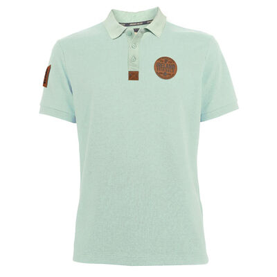 Ireland Polo Shirt With Original Leather Patch  Mist Green Colour