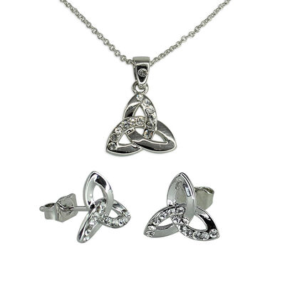 Croi Trinity Necklace and Earrings Set With Swarovski Crystal Design
