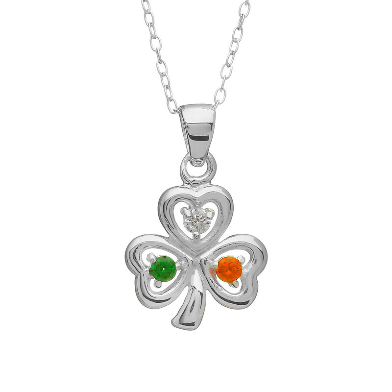 Hallmarked Sterling Silver Tri Colour Designed Shamrock Pendant