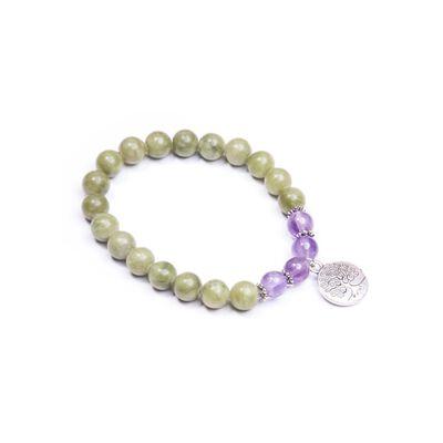 Connemara Marble Bracelet With Metal Tree Of Life Designed Charm