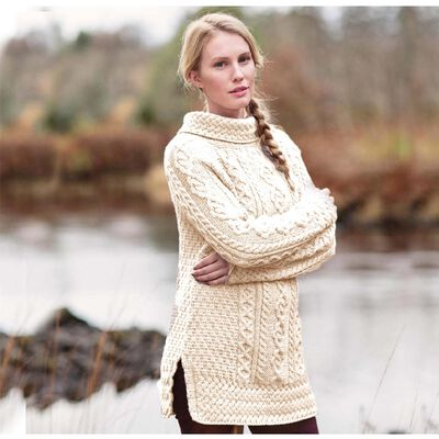 Aran Tunic Sweater With Vented Roll Neck Natural