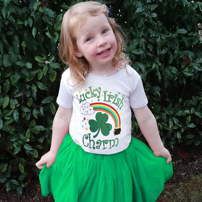 White Girls T-Shirt  With Lucky Irish Rainbow Charms Design