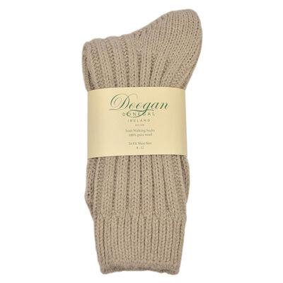 Doogan Donegal 100% Pure Wool Irish Walking Socks, Oatmeal Colour